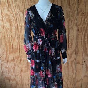 Women Flora Print Tie Maxi Dress